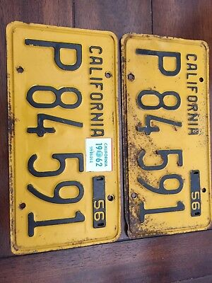 Pair 1956 California License Plates