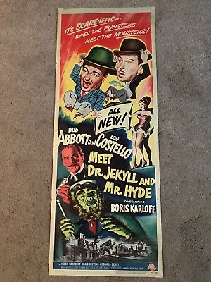 Original Usa Insert Movie Poster Abbott & Costello Meet Dr Jekyll Amd Mr Hyde