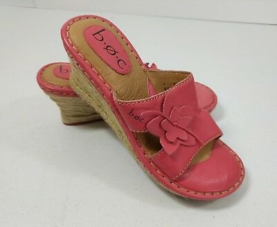 3da87130ee5c Women B.O.C. Born Concept Leather   Rope Wedge Heel Sandals Size 7 Pink  Floral