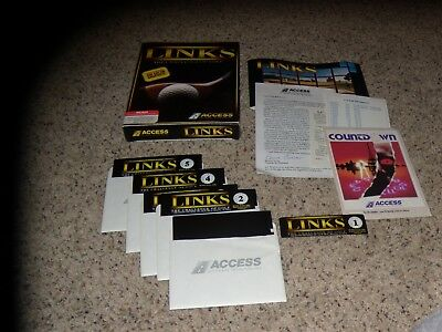 "Links The Challenge of Golf MS-DOS 5.25"" disks with box and inserts"