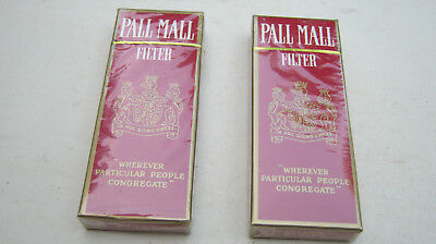 2 Vintage Pall Mall Cigarettes Unopened 4 Pack Sample Hard Pack Collectible Only