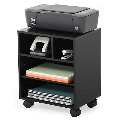 Black Mobile Laptop Printer Cart Rolling Computer Stand Portable Office Table