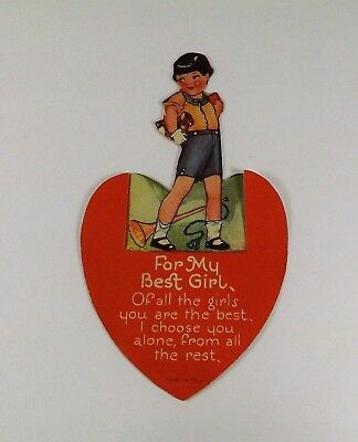 "Vintage 1940's Valentine Card Little Boy Carrying Teddy Bear w/Bugle 5"" x 2 7/8"""