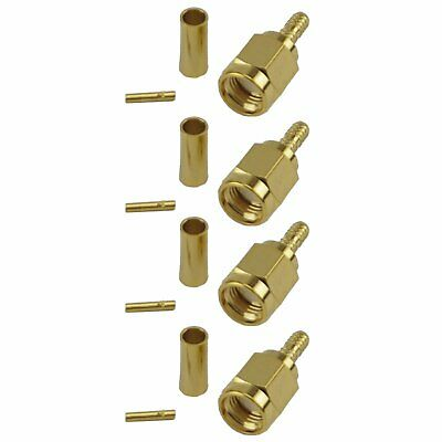 4 Pack RP SMA Male Crimp Connector - RG316/RG174