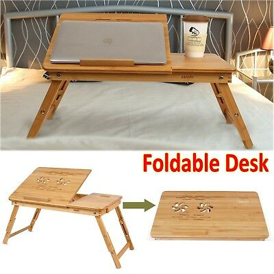 Bamboo Foldable Laptop Table Adjustable Computer Shelf Wooden Carved Bed Desk AU
