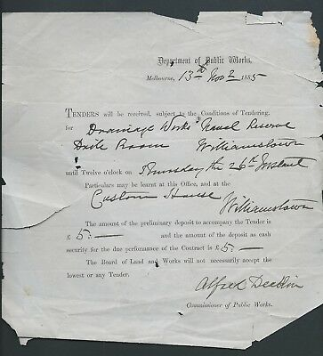 Autograph document signed by Alfred Deakin 1885