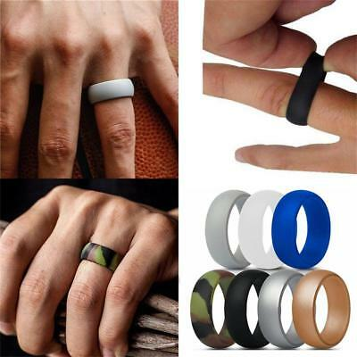 Men Elegant Flexible Rubber Comfortable Ring Outdoor Sports Silicone Band Ring