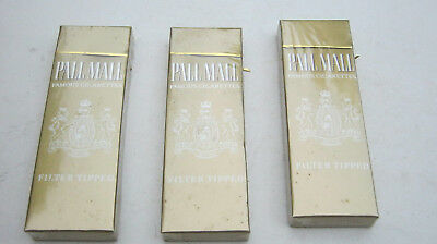 3 Vintage Pall Mall Cigarettes Unopened 4 Pack Sample Hard Pack Collectible Only