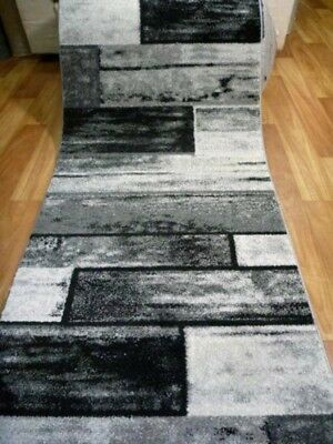 Hallway Runner 80cm wide by the Meter Diamond Black Grey White Rectangles Design