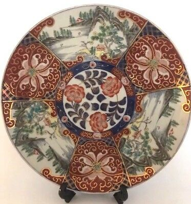 "ANT 19TH C. JAPAN HAND PAINTED IMARI PLATE CHARGER SIGNED BY ARTIST 13.5"" It/394"