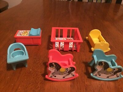 Vintage Fisher-Price Little People BABY NURSERY Set - 6 Pieces!