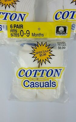 NIP Cotton Casuals One Pk. 6 Pair 0-9 Months Unisex Infant Baby Long White Socks