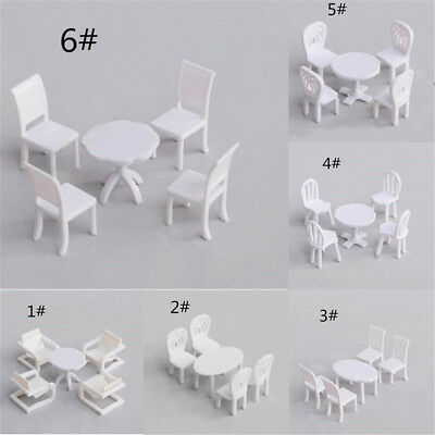 1 Set DIY Vintage Table Chairs Set Model White  Dollhouse Miniature Dining Room