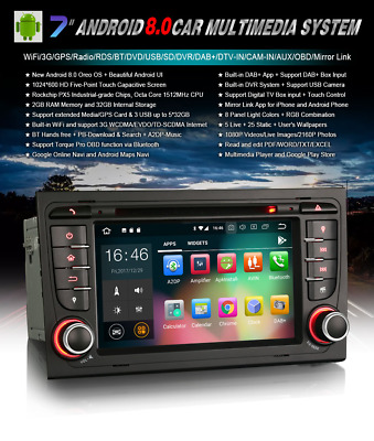 Radio Dvd Audi A4 Seat Exeo Android 8.0 Os-Bluetooth,gps,tdt, Hd, Mp4, Usb