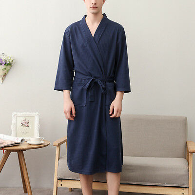 Summer Mens Womens Cotton  Nightwear Waffle Bath Robe Suck Sweat Kimono Bathrobe