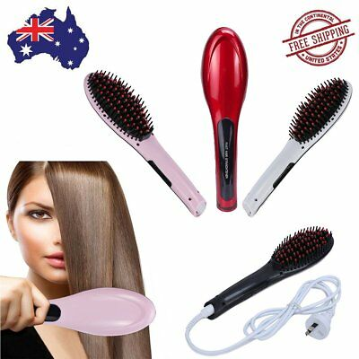 Hair Straightener Brush LCD Ceramic Heat Automatic Fast Straightening Comb AU