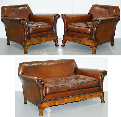 Thomas Chippendale Marquetry Walnut Inlay Brown Leather Sofa & Armchairs Suite