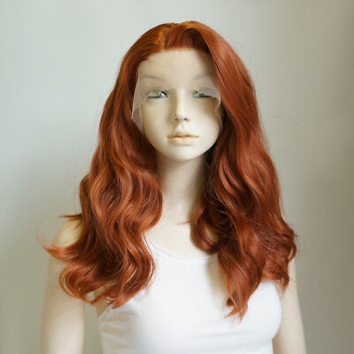 Wavy Women Heat Resistant Brazilian Orange Brown Lace Front Wig Fancy 14 Inches