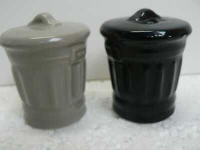 Black And Grey Garbage Rubbish Bins Salt And Pepper Shakers Collectable