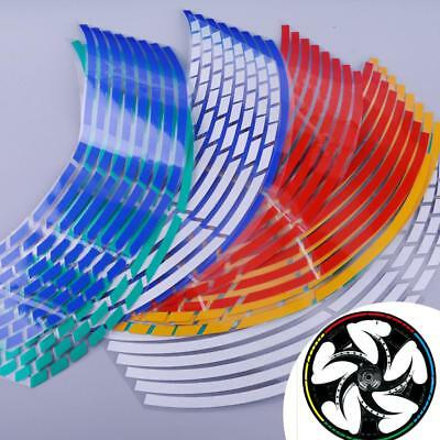 16Pcs Motorcycle Car Wheel Rim 16 Reflective Strips Stripe Tape Decal Sticker MZ