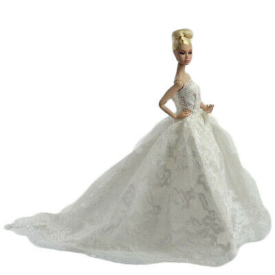 White Wedding Dress Princess Lady Dress Cloth Gown+veil for Doll Child Gift