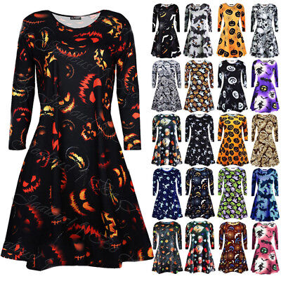 USA Women Long Sleeve Halloween Print Evening Party Costume Swing Cocktail Dress
