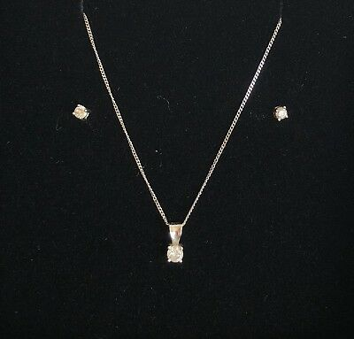 9ct White Gold Diamond Necklace & Earrings