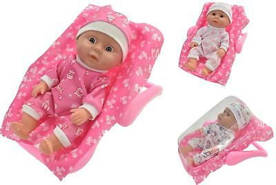 Baby Doll & 2 in 1 Travel Car Seat & Rocker With Blanket Carry Along Girls Toy