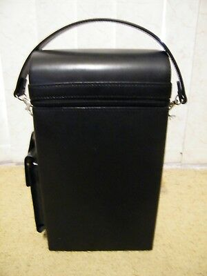 New Used Once Black Leather Wine Boxed Travel Carrier