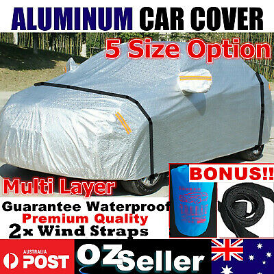 Multi Layer Aluminum Car Cover Outdoor WaterProof Rain SnowSun Dust Brid Protect