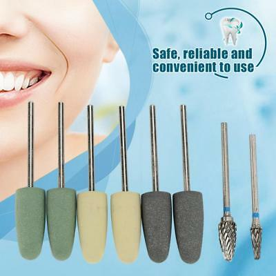 8pcs Silicone Rubber Dental Resin Base Burs Drill Kit Polisher Rotary Set HighQ