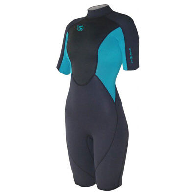 Sola Womens Ignite 3/2mm Shorty Wetsuit - Graphite/Turquoise