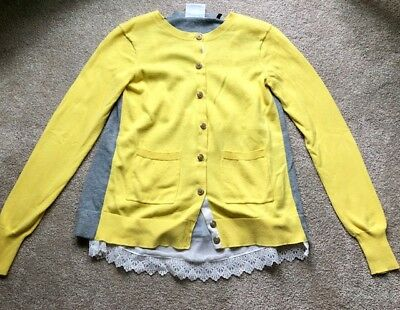 Cabi Cardigan XS, Yellow with Gray, Lace trim