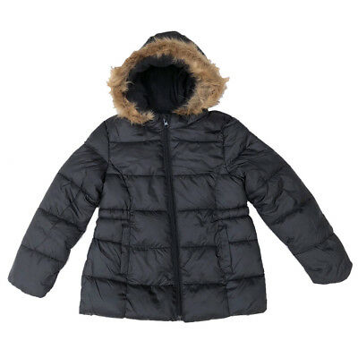 Girls Black School Coat Fury Hooded Winter Coat Puffer Ages 7 Years to 15 Years