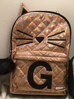 NWT Justice Backpack Gold Cat Quilted Style-Letter ~G~Full Size Gold Backpack!