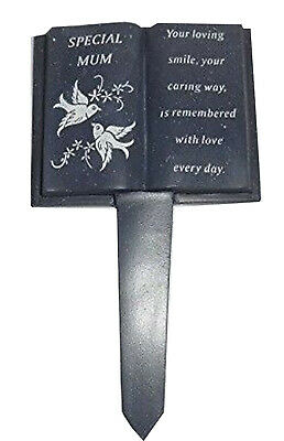 Slate Grey Memorial Book Stake Dove Detail Grave Plaque Special Mum Spike Marker