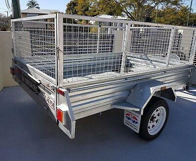 8 x 5 Galvanized Trailer with 600mm Cage- used