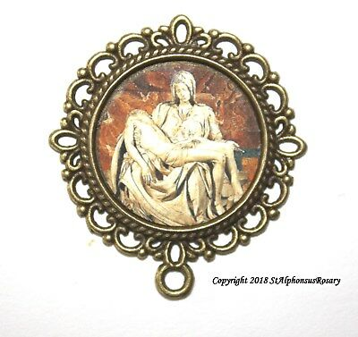 One Pieta Rosary CenterJesus & Mary |Choice of Bronze, Silver or Antique Gold