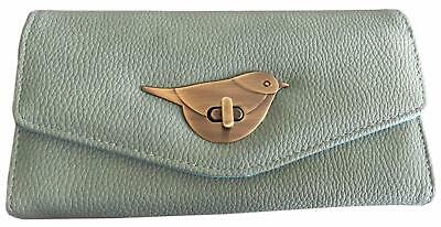 Green Bird Purse Ladies Girls Large Pale Green Birds Faux Leather Wallet New