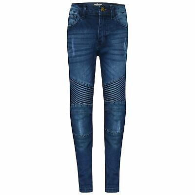 Kids Boys Stretchy Jeans Designer's Mid Blue Ripped Skinny Denim Pants Trousers