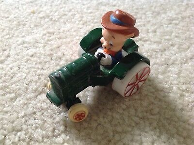 Vintage Porky The Pig Looney Tunes Metal/plastic Figurine On A Tractor!