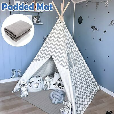 Large Gray Teepee  Kids Tent Cotton Canvas Wigwam Childrens Indoor Outdoor Play