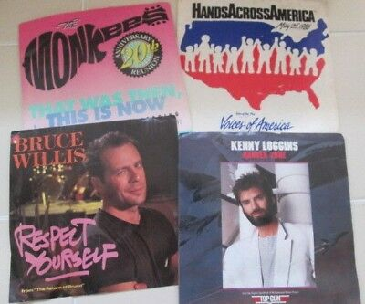 LOT 45 rpm 4 Record Kenny Loggins Monkees Bruce Willis Hands Across America