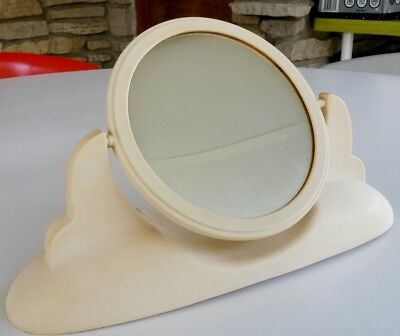 Art Deco Plastic Mantle Swivel Mirror Cons-O-Lite 2 Sided Beige Vanity