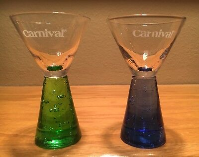 Carnival Cruise Pair Of Collectible Shot Glasses Blue And Green