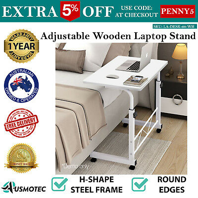 Adjustable Wooden Laptop Study Desk Portable Stand Table Sofa Bed Side White
