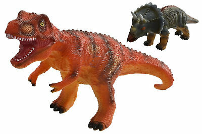 "New Large 13"" Dinosaur With Sound -  T-Rex & Triceratops Dino Roar Kids Fun Toy"