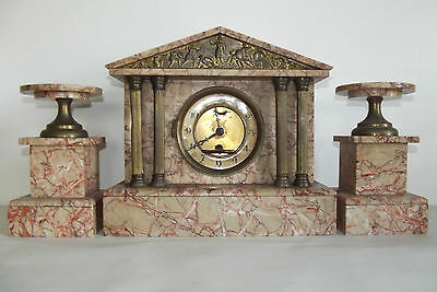 04B64 ANTIQUE CLOCK TEMPLE GREEK MARBLE PINK / BRONZE GOLDEN NAPOLEON III xixth