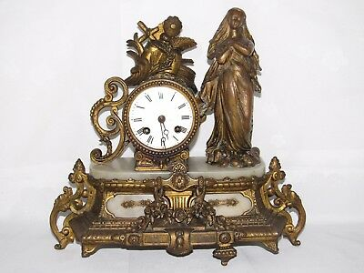 09D27 Antique Clock Alabaster Statue Regulated Patina Bronze Theme Religious