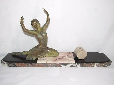 11D7 Antique Statue Woman Dancer Art Déco Regulated Patina Bronze Sign H.molins